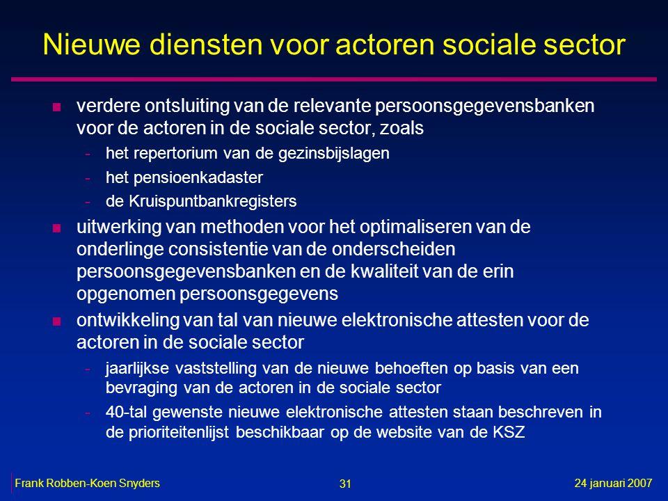 31 24 januari 2007Frank Robben-Koen Snyders Nieuwe diensten voor actoren sociale sector n verdere ontsluiting van de relevante persoonsgegevensbanken