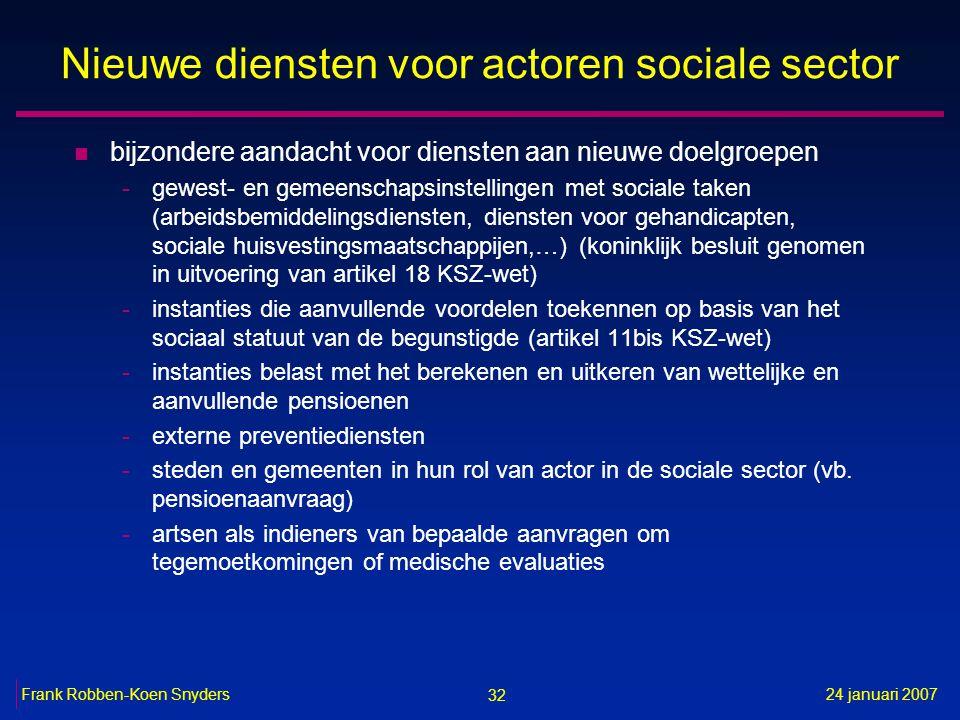 32 24 januari 2007Frank Robben-Koen Snyders Nieuwe diensten voor actoren sociale sector n bijzondere aandacht voor diensten aan nieuwe doelgroepen -ge