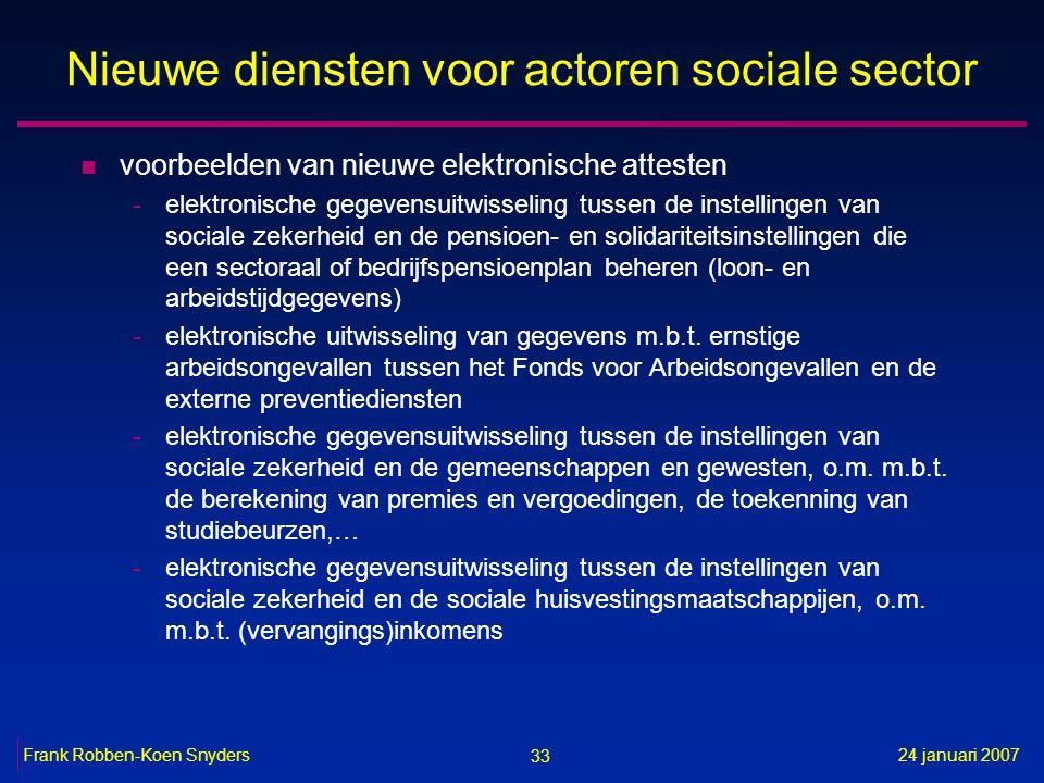 33 24 januari 2007Frank Robben-Koen Snyders Nieuwe diensten voor actoren sociale sector n voorbeelden van nieuwe elektronische attesten -elektronische