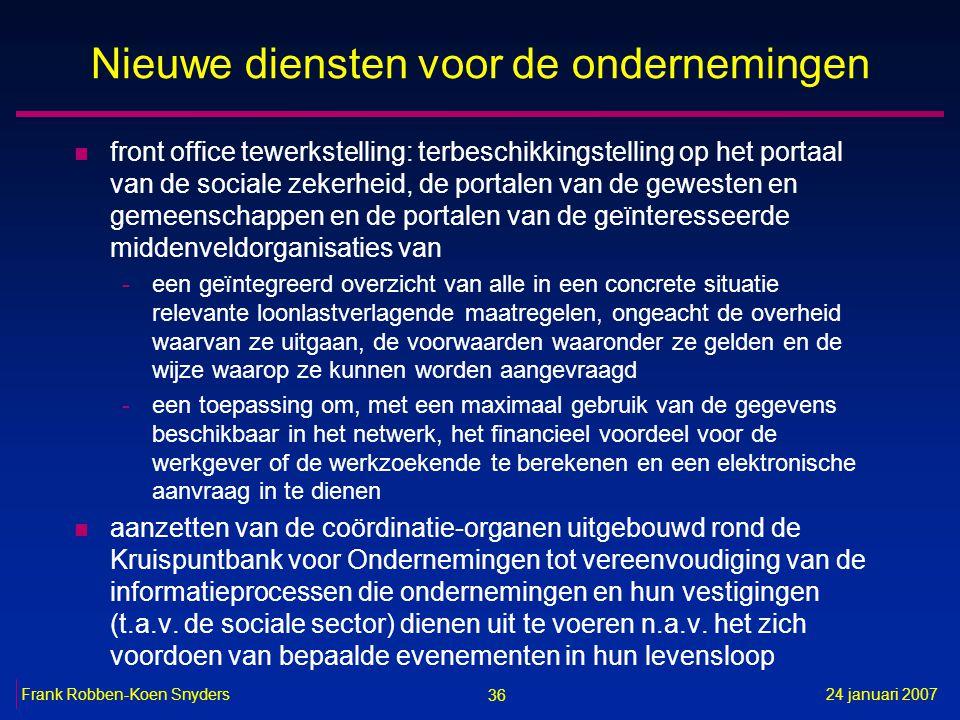 36 24 januari 2007Frank Robben-Koen Snyders Nieuwe diensten voor de ondernemingen n front office tewerkstelling: terbeschikkingstelling op het portaal