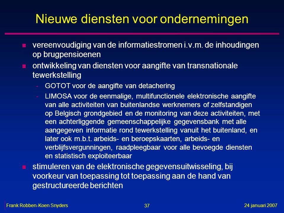 37 24 januari 2007Frank Robben-Koen Snyders Nieuwe diensten voor ondernemingen n vereenvoudiging van de informatiestromen i.v.m. de inhoudingen op bru