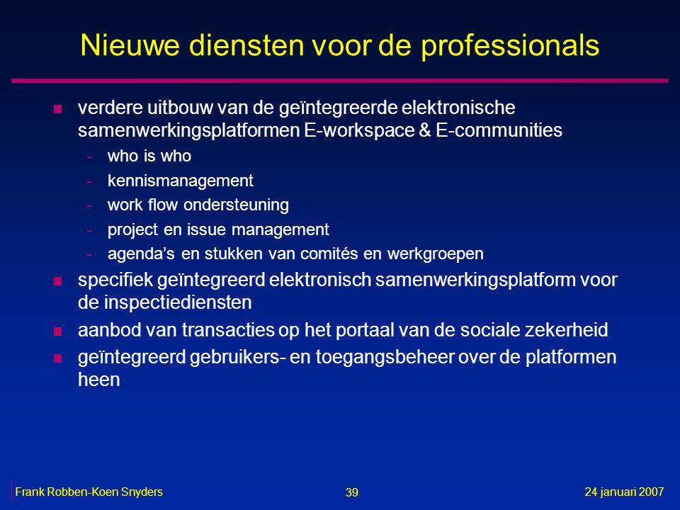 39 24 januari 2007Frank Robben-Koen Snyders Nieuwe diensten voor de professionals n verdere uitbouw van de geïntegreerde elektronische samenwerkingspl