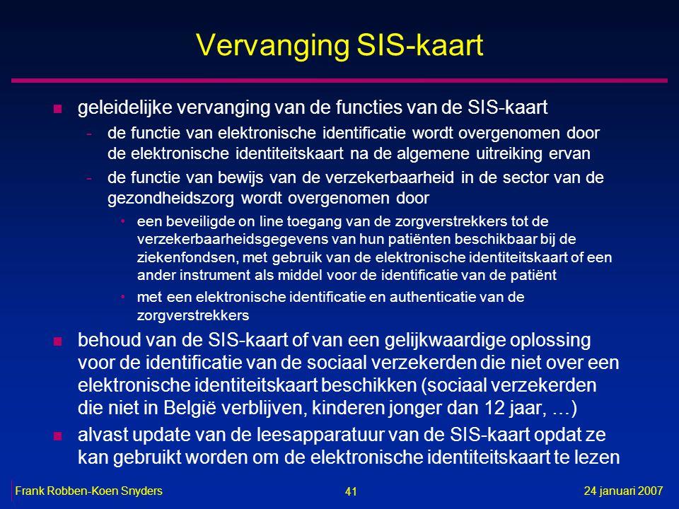41 24 januari 2007Frank Robben-Koen Snyders Vervanging SIS-kaart n geleidelijke vervanging van de functies van de SIS-kaart -de functie van elektronis