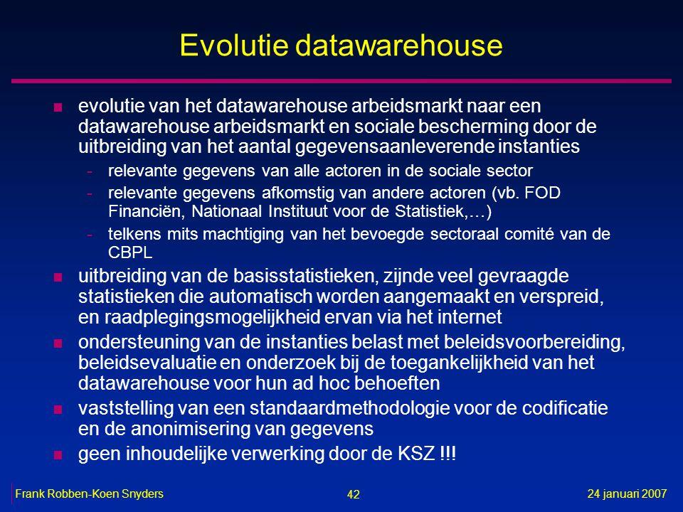 42 24 januari 2007Frank Robben-Koen Snyders Evolutie datawarehouse n evolutie van het datawarehouse arbeidsmarkt naar een datawarehouse arbeidsmarkt e