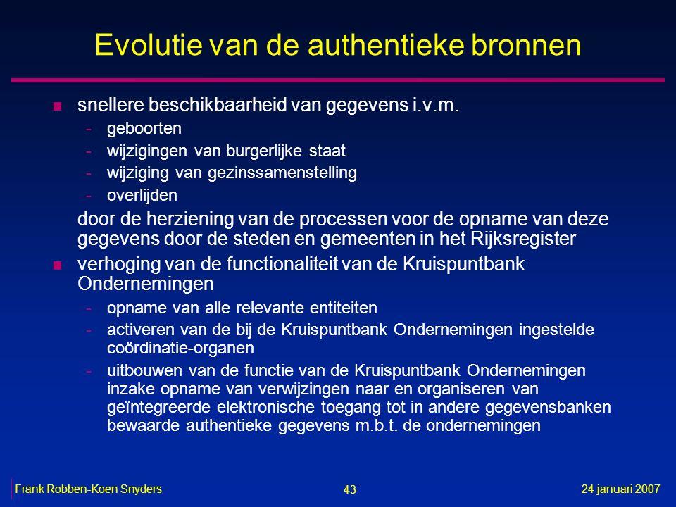 43 24 januari 2007Frank Robben-Koen Snyders Evolutie van de authentieke bronnen n snellere beschikbaarheid van gegevens i.v.m.