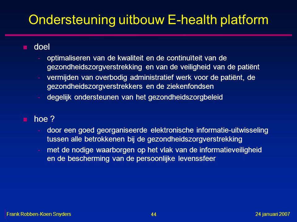 44 24 januari 2007Frank Robben-Koen Snyders Ondersteuning uitbouw E-health platform n doel -optimaliseren van de kwaliteit en de continuïteit van de gezondheidszorgverstrekking en van de veiligheid van de patiënt -vermijden van overbodig administratief werk voor de patiënt, de gezondheidszorgverstrekkers en de ziekenfondsen -degelijk ondersteunen van het gezondheidszorgbeleid n hoe .
