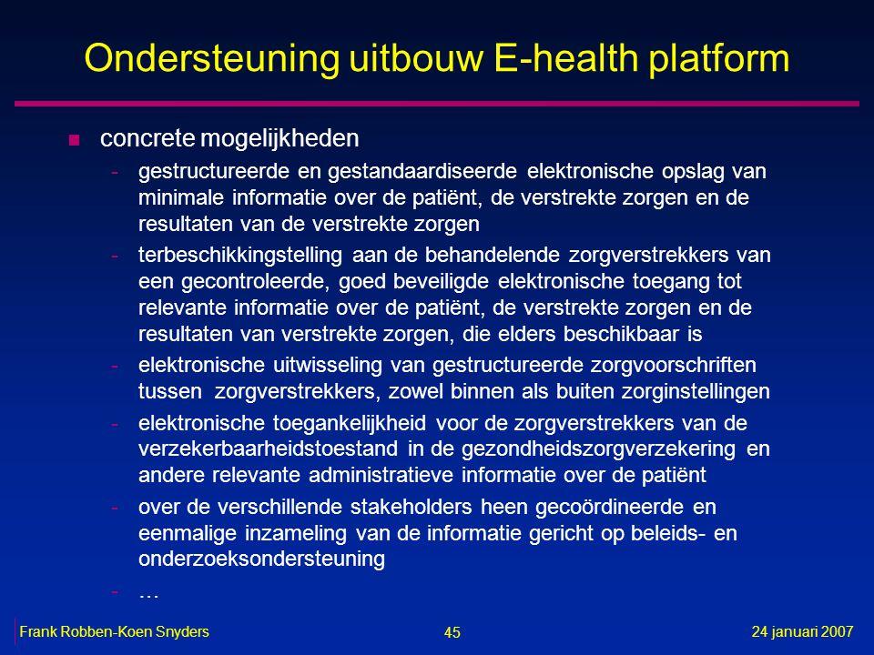 45 24 januari 2007Frank Robben-Koen Snyders Ondersteuning uitbouw E-health platform n concrete mogelijkheden -gestructureerde en gestandaardiseerde el