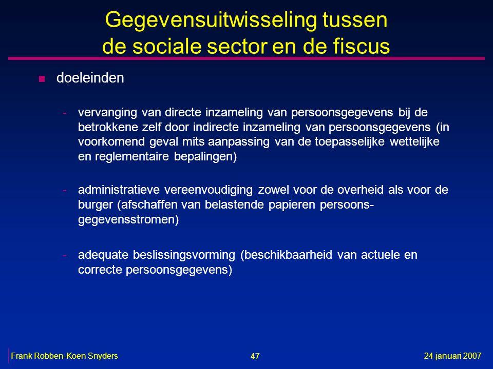 47 24 januari 2007Frank Robben-Koen Snyders Gegevensuitwisseling tussen de sociale sector en de fiscus n doeleinden -vervanging van directe inzameling