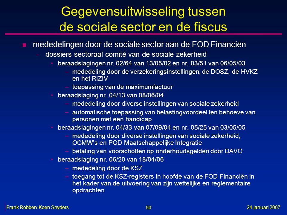 50 24 januari 2007Frank Robben-Koen Snyders Gegevensuitwisseling tussen de sociale sector en de fiscus n mededelingen door de sociale sector aan de FOD Financiën -dossiers sectoraal comité van de sociale zekerheid beraadslagingen nr.