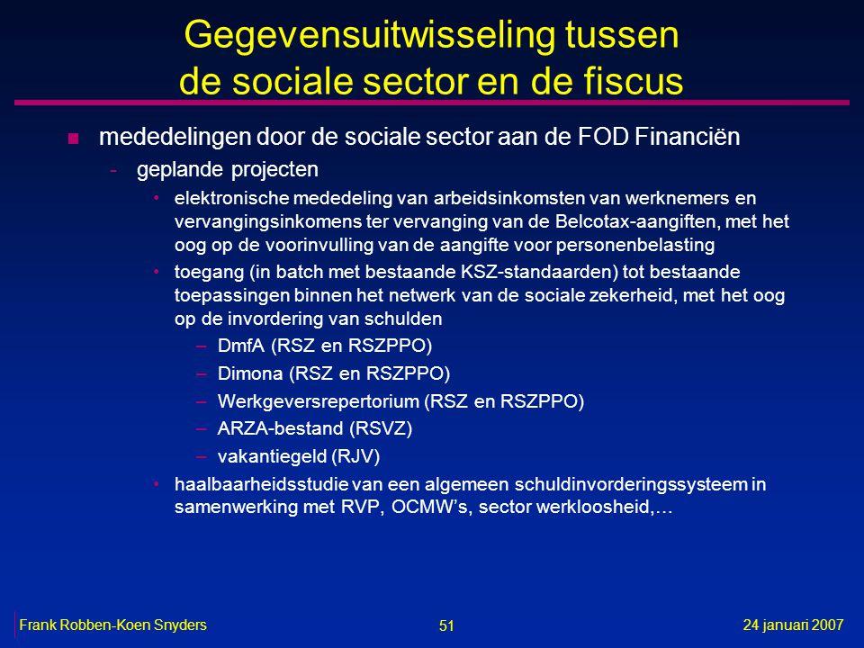 51 24 januari 2007Frank Robben-Koen Snyders Gegevensuitwisseling tussen de sociale sector en de fiscus n mededelingen door de sociale sector aan de FOD Financiën -geplande projecten elektronische mededeling van arbeidsinkomsten van werknemers en vervangingsinkomens ter vervanging van de Belcotax-aangiften, met het oog op de voorinvulling van de aangifte voor personenbelasting toegang (in batch met bestaande KSZ-standaarden) tot bestaande toepassingen binnen het netwerk van de sociale zekerheid, met het oog op de invordering van schulden –DmfA (RSZ en RSZPPO) –Dimona (RSZ en RSZPPO) –Werkgeversrepertorium (RSZ en RSZPPO) –ARZA-bestand (RSVZ) –vakantiegeld (RJV) haalbaarheidsstudie van een algemeen schuldinvorderingssysteem in samenwerking met RVP, OCMW's, sector werkloosheid,…