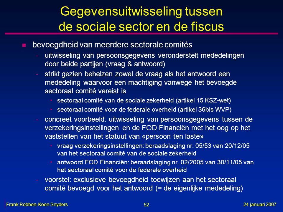 52 24 januari 2007Frank Robben-Koen Snyders Gegevensuitwisseling tussen de sociale sector en de fiscus n bevoegdheid van meerdere sectorale comités -u