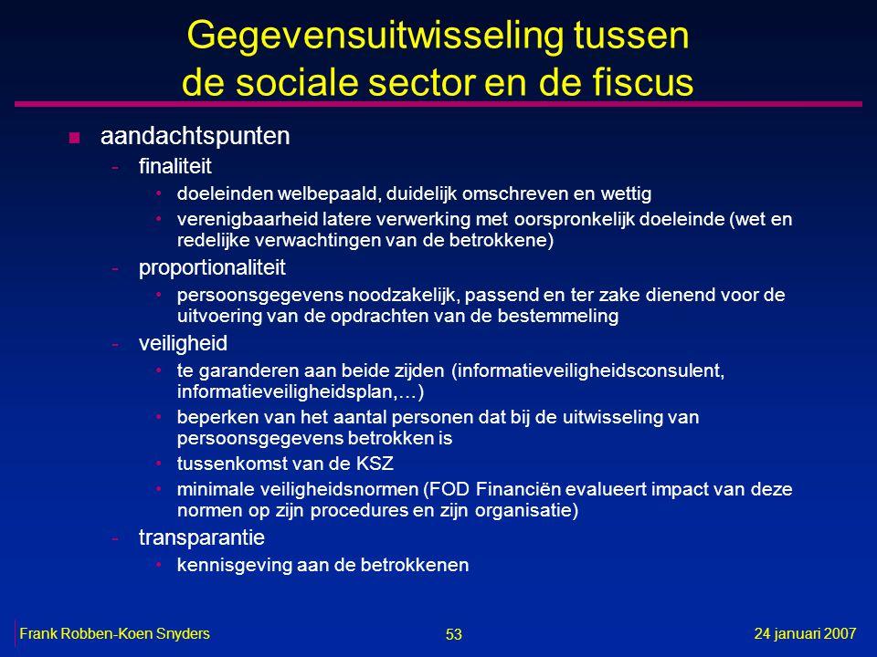 53 24 januari 2007Frank Robben-Koen Snyders Gegevensuitwisseling tussen de sociale sector en de fiscus n aandachtspunten -finaliteit doeleinden welbep