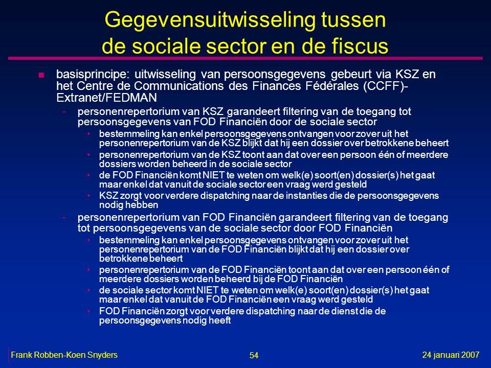 54 24 januari 2007Frank Robben-Koen Snyders Gegevensuitwisseling tussen de sociale sector en de fiscus n basisprincipe: uitwisseling van persoonsgegev