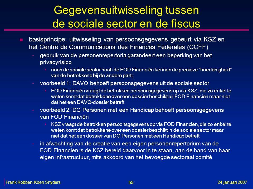 55 24 januari 2007Frank Robben-Koen Snyders Gegevensuitwisseling tussen de sociale sector en de fiscus n basisprincipe: uitwisseling van persoonsgegev