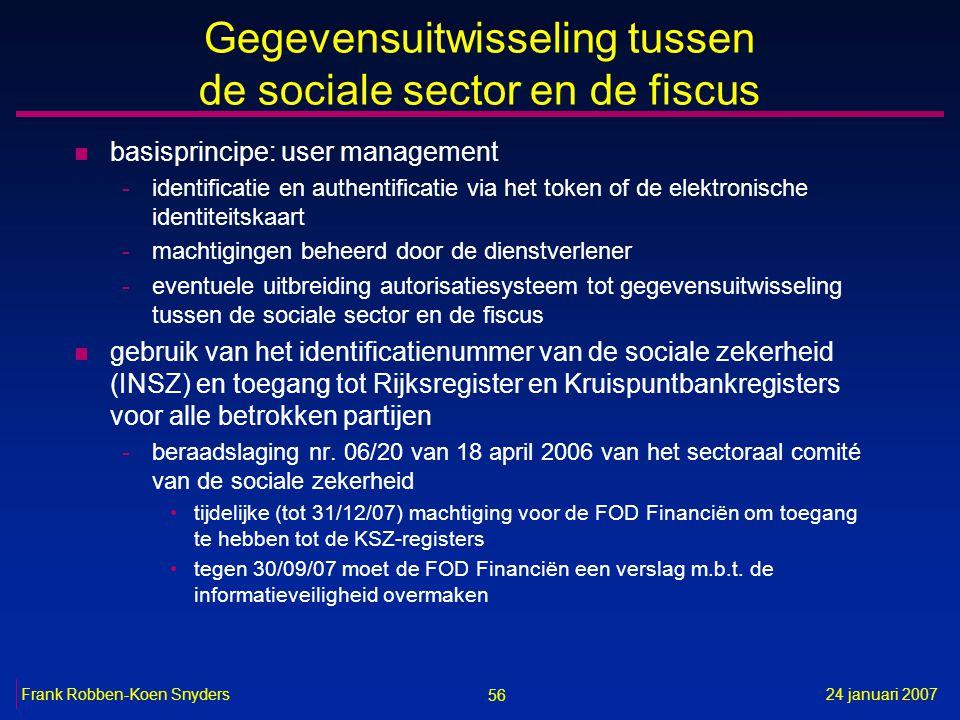 56 24 januari 2007Frank Robben-Koen Snyders Gegevensuitwisseling tussen de sociale sector en de fiscus n basisprincipe: user management -identificatie