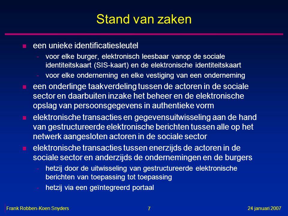 7 24 januari 2007Frank Robben-Koen Snyders Stand van zaken n een unieke identificatiesleutel -voor elke burger, elektronisch leesbaar vanop de sociale