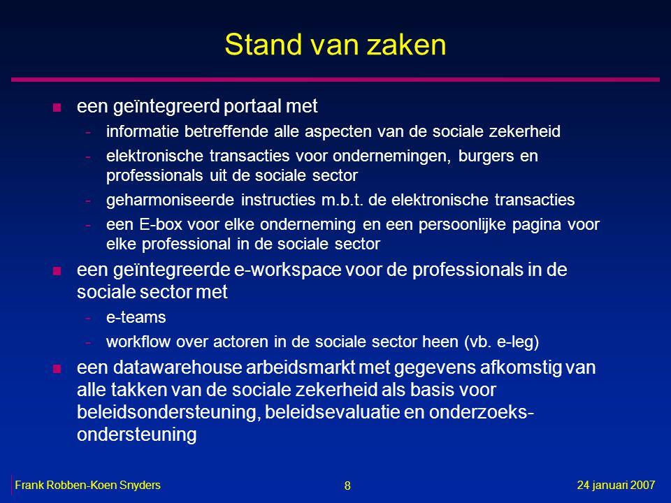 8 24 januari 2007Frank Robben-Koen Snyders Stand van zaken n een geïntegreerd portaal met -informatie betreffende alle aspecten van de sociale zekerhe