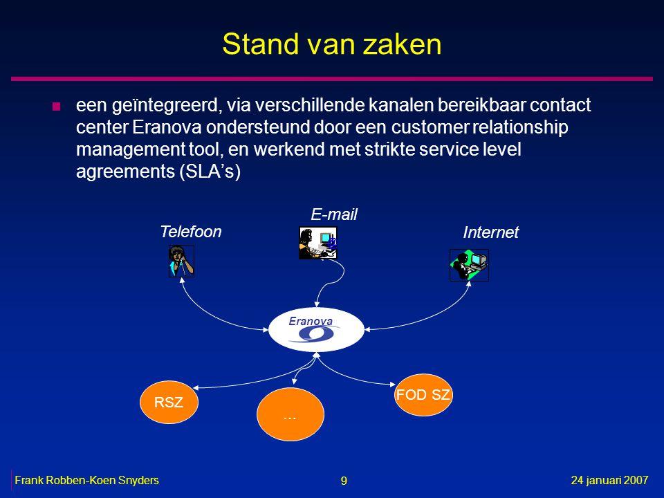 9 24 januari 2007Frank Robben-Koen Snyders Stand van zaken n een geïntegreerd, via verschillende kanalen bereikbaar contact center Eranova ondersteund