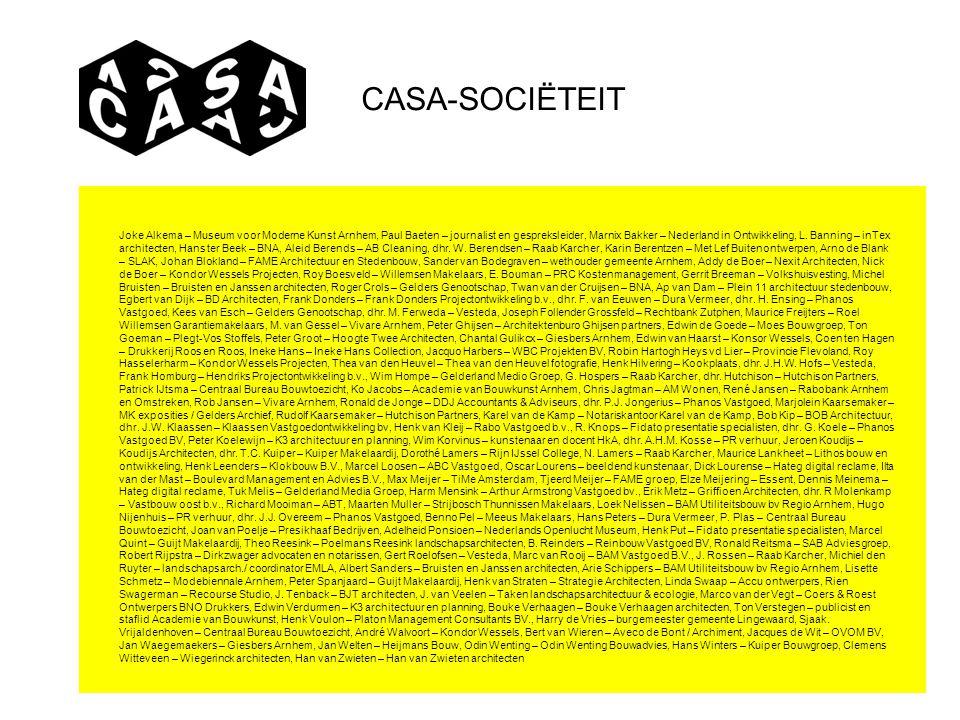 CASA-SOCIËTEIT Joke Alkema – Museum voor Moderne Kunst Arnhem, Paul Baeten – journalist en gespreksleider, Marnix Bakker – Nederland in Ontwikkeling,
