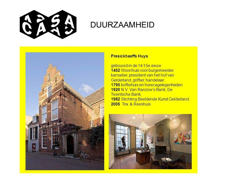 Presickhaeffs Huys gebouwd in de 14/15e eeuw 1452 Woonhuis voor burgemeester, kanselier, president van het hof van Gelderland, griffier, handelaar. 17