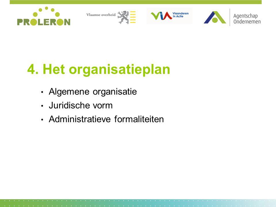 4. Het organisatieplan Algemene organisatie Juridische vorm Administratieve formaliteiten