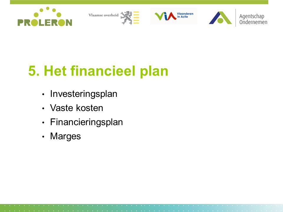 5. Het financieel plan Investeringsplan Vaste kosten Financieringsplan Marges