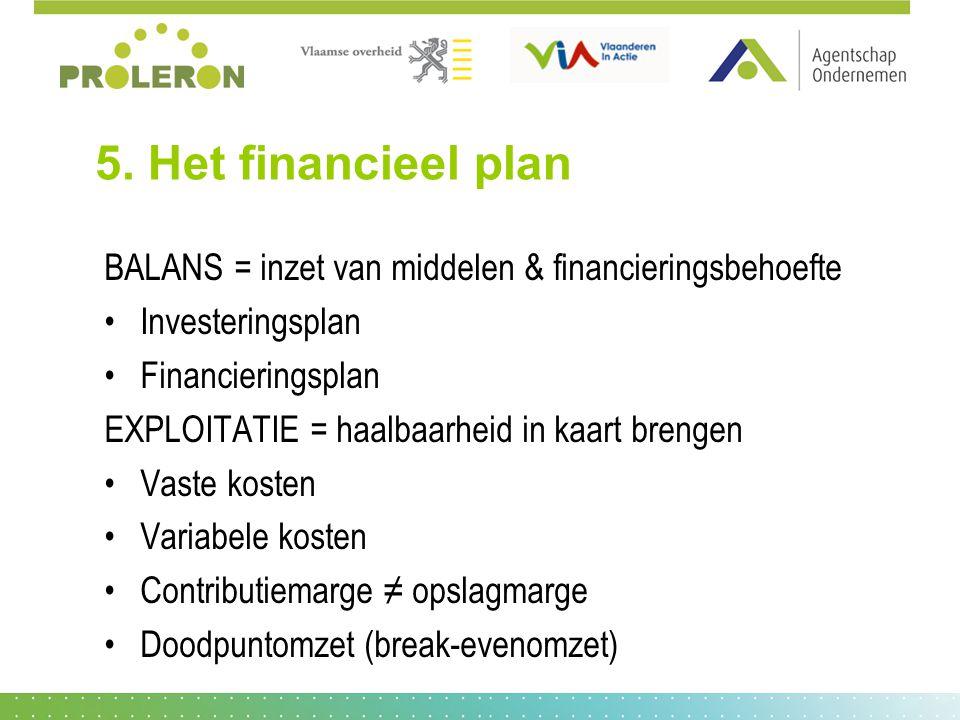 5. Het financieel plan BALANS = inzet van middelen & financieringsbehoefte Investeringsplan Financieringsplan EXPLOITATIE = haalbaarheid in kaart bren