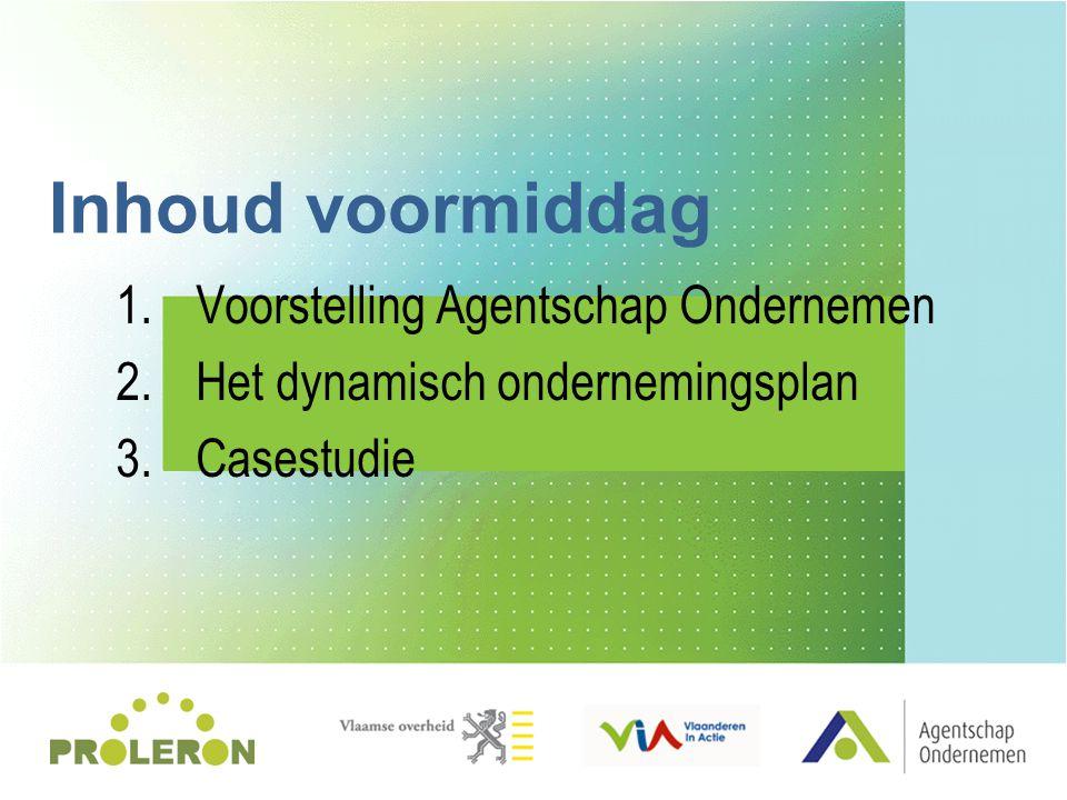 1.Voorstelling Agentschap Ondernemen 2.Het dynamisch ondernemingsplan 3.Casestudie Inhoud voormiddag