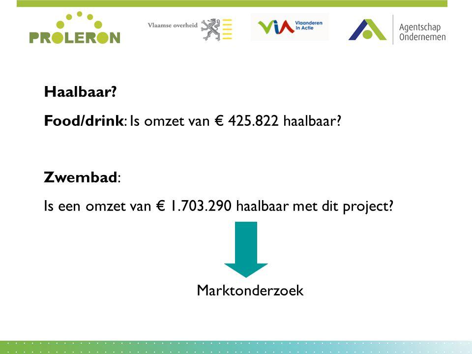 Haalbaar? Food/drink: Is omzet van € 425.822 haalbaar? Zwembad: Is een omzet van € 1.703.290 haalbaar met dit project? Marktonderzoek