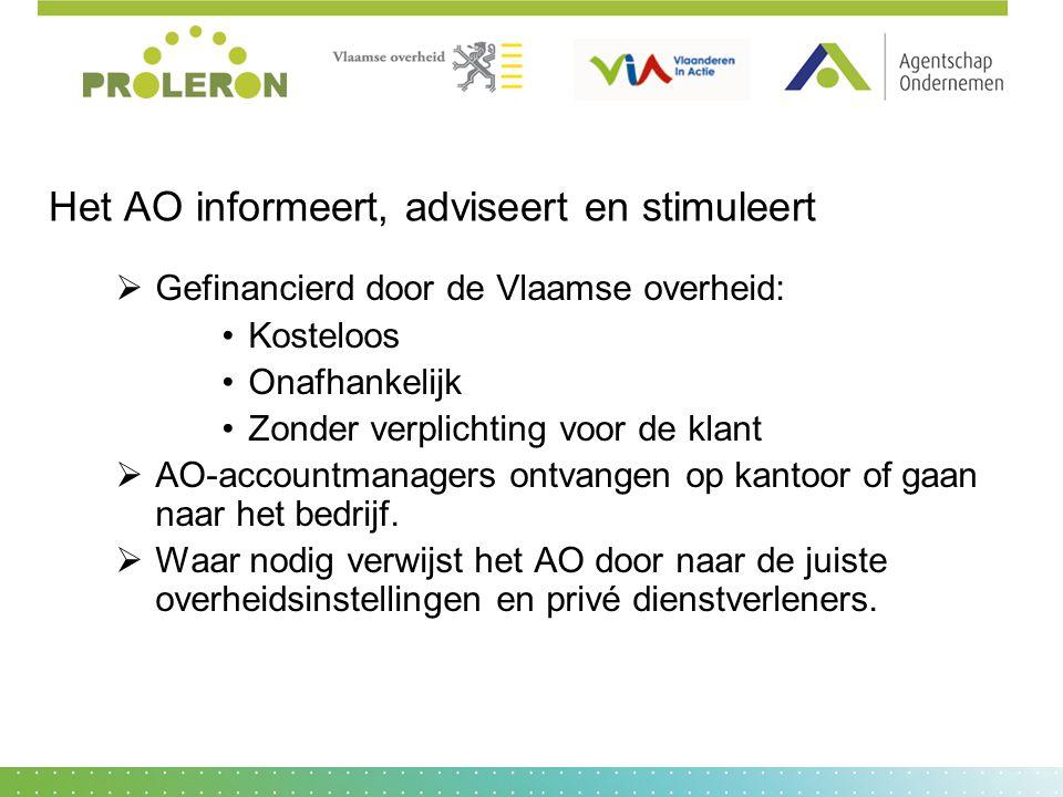 Het AO informeert, adviseert en stimuleert  Gefinancierd door de Vlaamse overheid: Kosteloos Onafhankelijk Zonder verplichting voor de klant  AO-acc