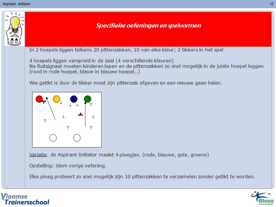 Aspirant - Initiator17 Specifieke oefeningen en spelvormen In 2 hoepels liggen telkens 20 pittenzakken, 10 van elke kleur; 2 tikkers in het spel 4 hoe