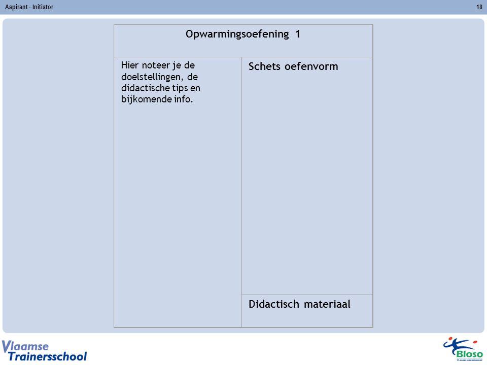 Aspirant - Initiator18 Opwarmingsoefening 1 Hier noteer je de doelstellingen, de didactische tips en bijkomende info. Schets oefenvorm Didactisch mate