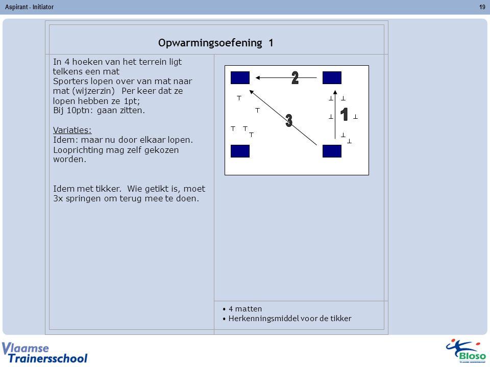 Aspirant - Initiator19 Opwarmingsoefening 1 In 4 hoeken van het terrein ligt telkens een mat Sporters lopen over van mat naar mat (wijzerzin) Per keer