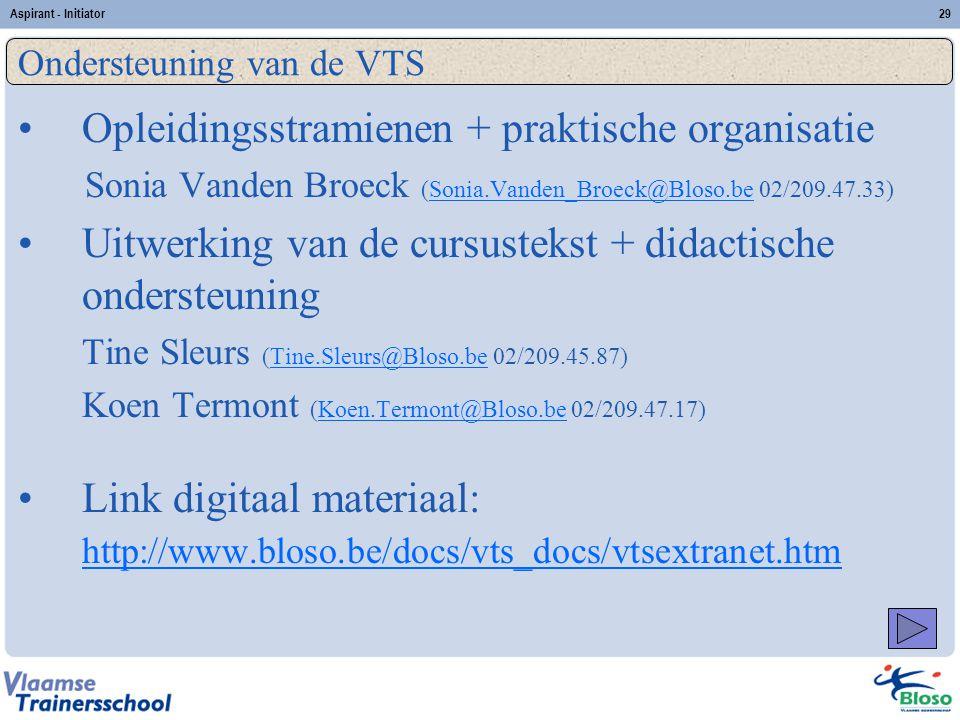 Aspirant - Initiator29 Opleidingsstramienen + praktische organisatie Sonia Vanden Broeck (Sonia.Vanden_Broeck@Bloso.be 02/209.47.33)Sonia.Vanden_Broec