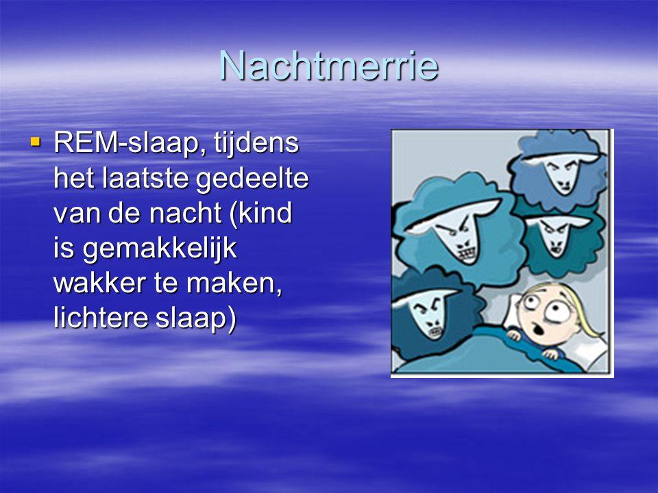 Nachtmerrie  REM-slaap, tijdens het laatste gedeelte van de nacht (kind is gemakkelijk wakker te maken, lichtere slaap)