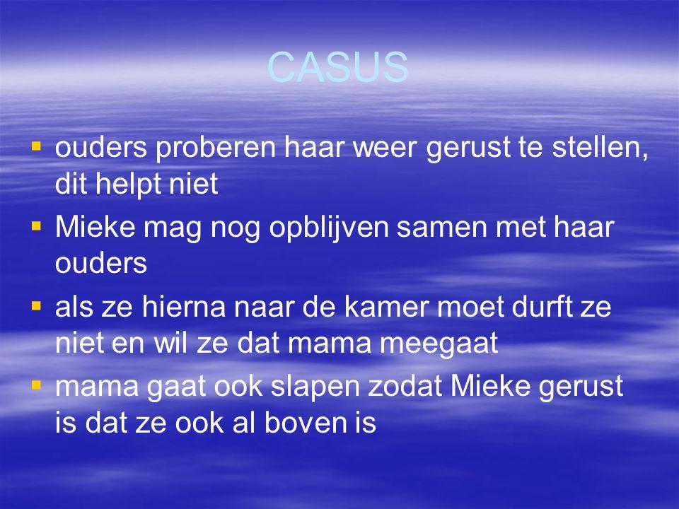 CASUS   ouders proberen haar weer gerust te stellen, dit helpt niet   Mieke mag nog opblijven samen met haar ouders   als ze hierna naar de kame