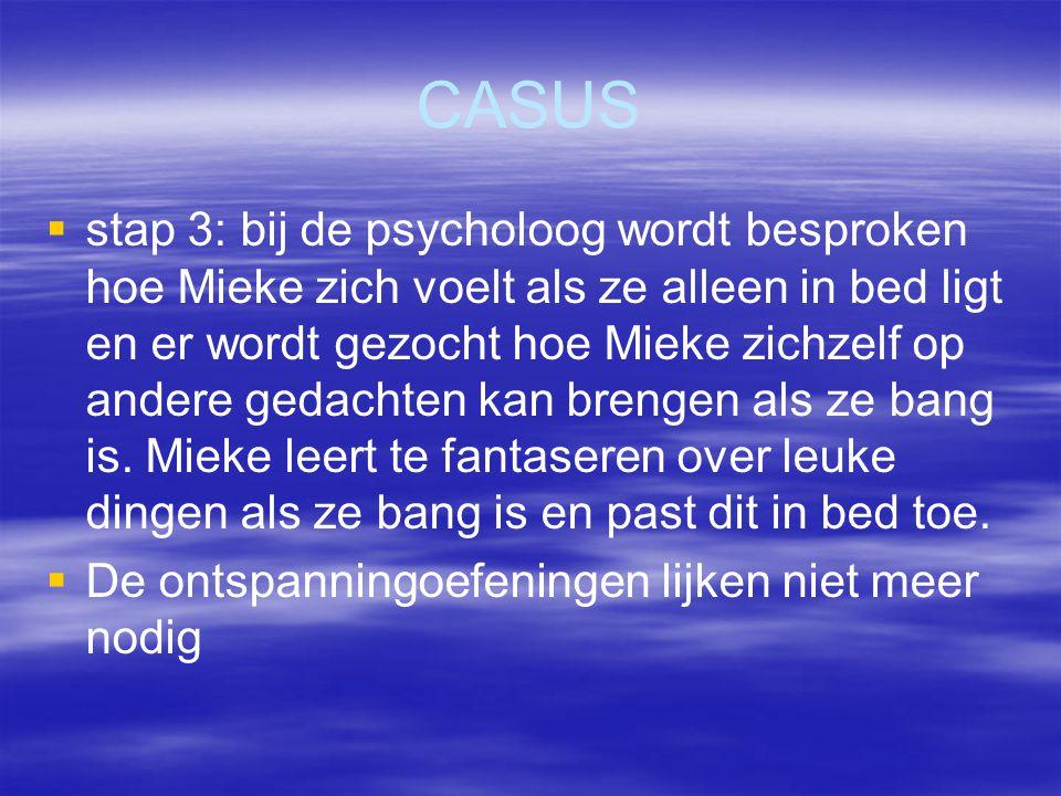 CASUS   stap 3: bij de psycholoog wordt besproken hoe Mieke zich voelt als ze alleen in bed ligt en er wordt gezocht hoe Mieke zichzelf op andere ge
