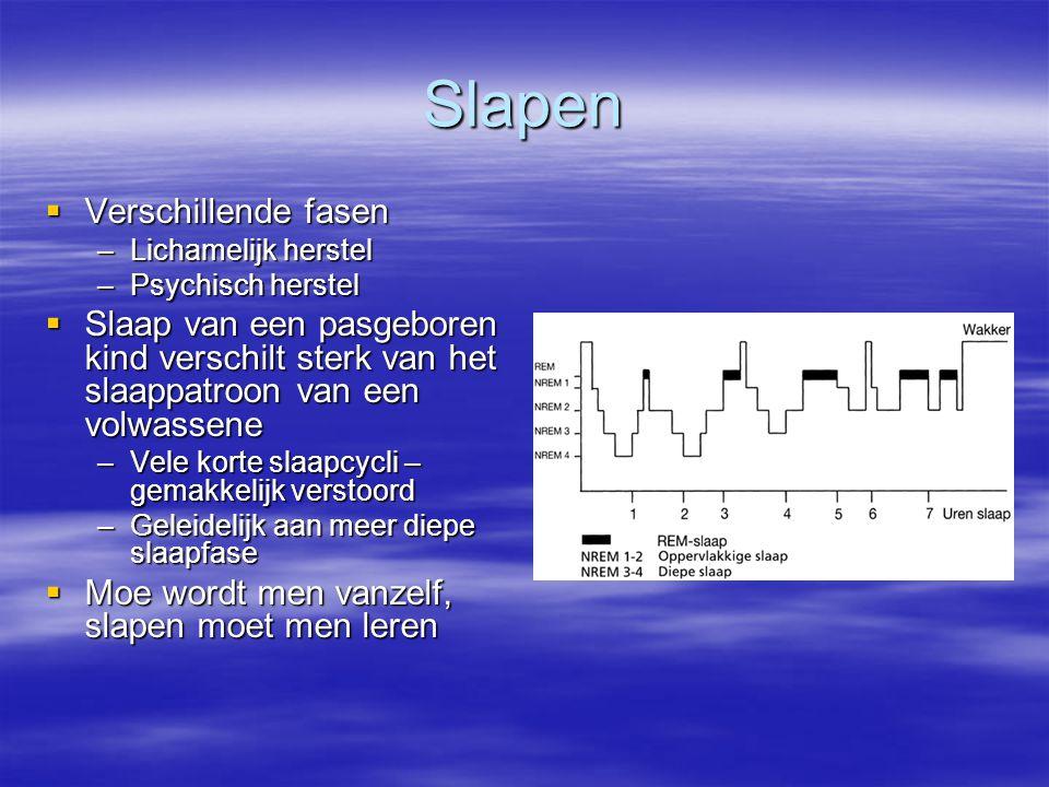 Slapen  Verschillende fasen –Lichamelijk herstel –Psychisch herstel  Slaap van een pasgeboren kind verschilt sterk van het slaappatroon van een volw