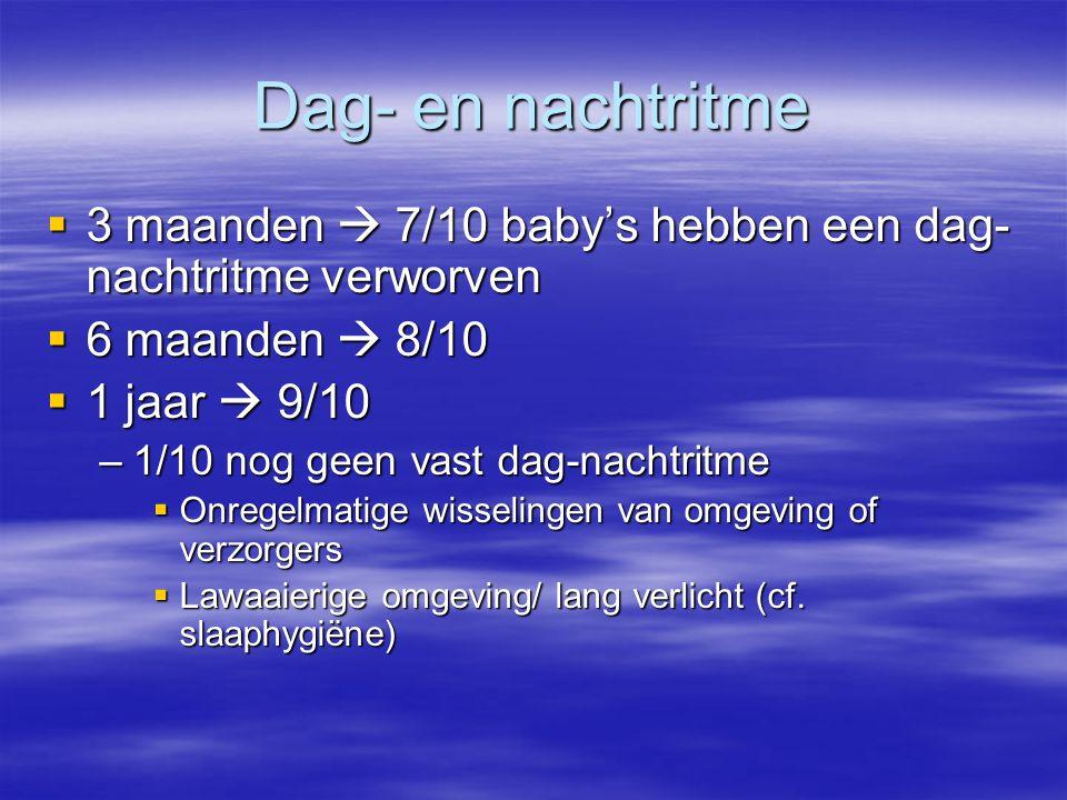 Dag- en nachtritme  3 maanden  7/10 baby's hebben een dag- nachtritme verworven  6 maanden  8/10  1 jaar  9/10 –1/10 nog geen vast dag-nachtritm