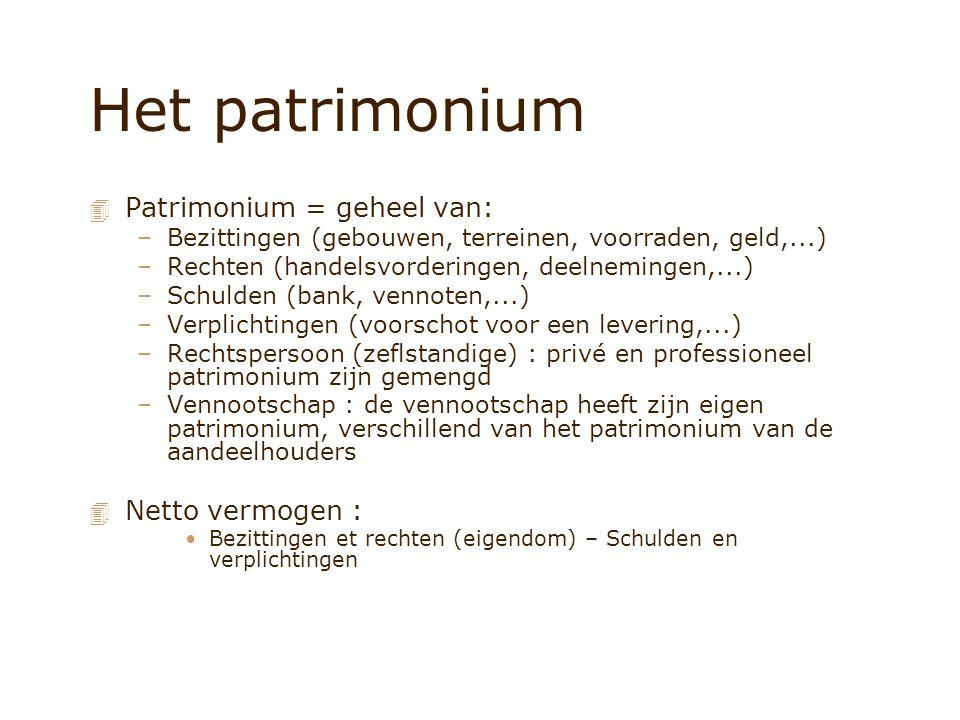 Het patrimonium 4 Patrimonium = geheel van: –Bezittingen (gebouwen, terreinen, voorraden, geld,...) –Rechten (handelsvorderingen, deelnemingen,...) –Schulden (bank, vennoten,...) –Verplichtingen (voorschot voor een levering,...) –Rechtspersoon (zeflstandige) : privé en professioneel patrimonium zijn gemengd –Vennootschap : de vennootschap heeft zijn eigen patrimonium, verschillend van het patrimonium van de aandeelhouders 4 Netto vermogen : Bezittingen et rechten (eigendom) – Schulden en verplichtingen