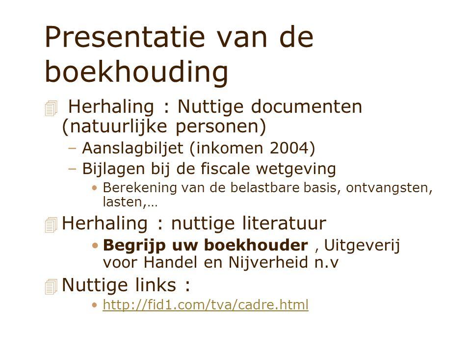 Presentatie van de boekhouding 4 Herhaling : Nuttige documenten (natuurlijke personen) –Aanslagbiljet (inkomen 2004) –Bijlagen bij de fiscale wetgevin