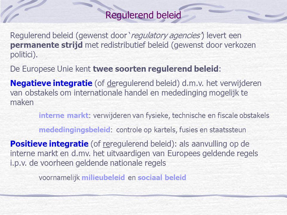 Regulerend beleid Regulerend beleid (gewenst door 'regulatory agencies') levert een permanente strijd met redistributief beleid (gewenst door verkozen