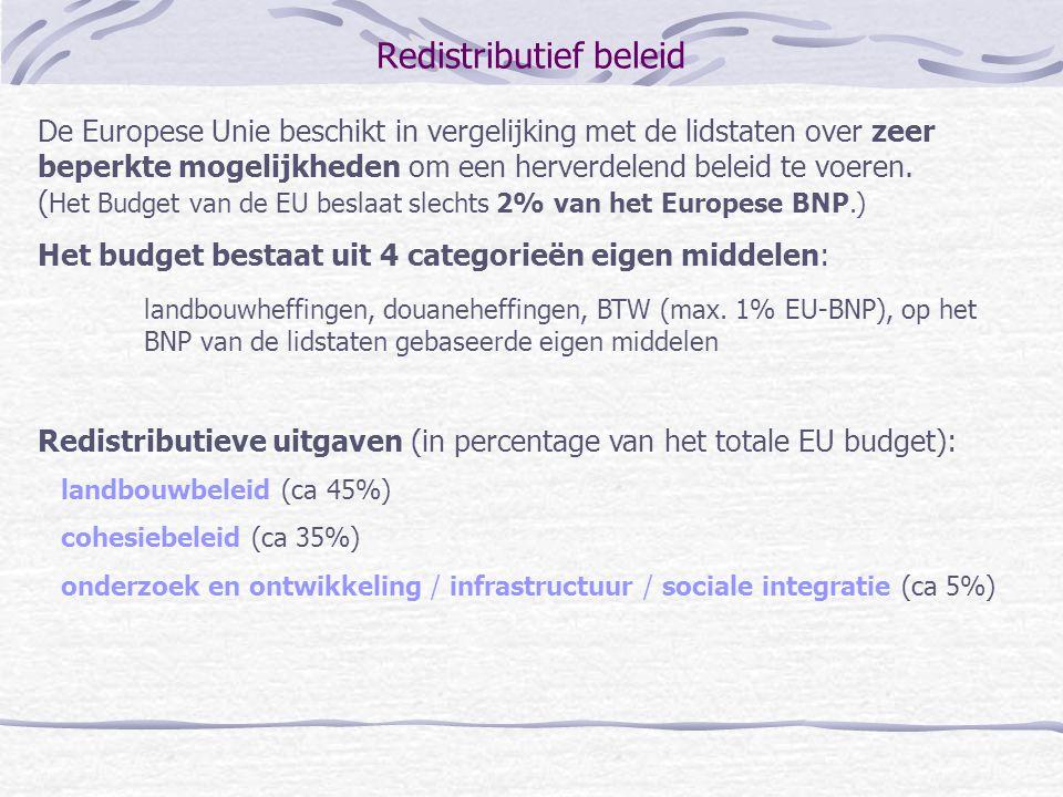 Redistributief beleid De Europese Unie beschikt in vergelijking met de lidstaten over zeer beperkte mogelijkheden om een herverdelend beleid te voeren