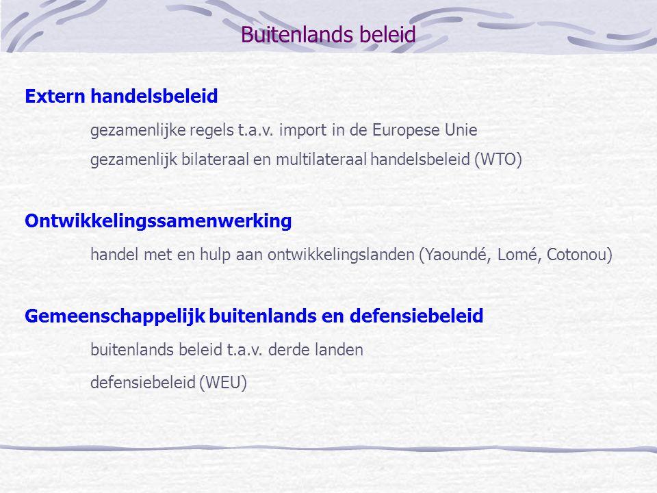 Buitenlands beleid Extern handelsbeleid gezamenlijke regels t.a.v. import in de Europese Unie gezamenlijk bilateraal en multilateraal handelsbeleid (W