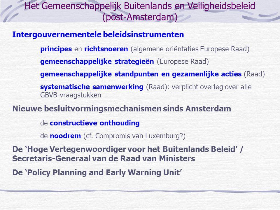Het Gemeenschappelijk Buitenlands en Veiligheidsbeleid (post-Amsterdam) Intergouvernementele beleidsinstrumenten principes en richtsnoeren (algemene o