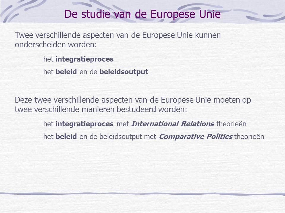 De studie van de Europese Unie Twee verschillende aspecten van de Europese Unie kunnen onderscheiden worden: het integratieproces het beleid en de bel