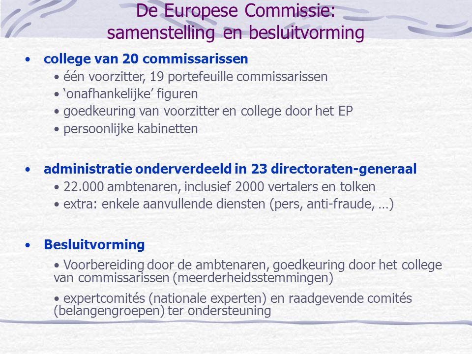 De Europese Commissie: samenstelling en besluitvorming college van 20 commissarissen één voorzitter, 19 portefeuille commissarissen 'onafhankelijke' f