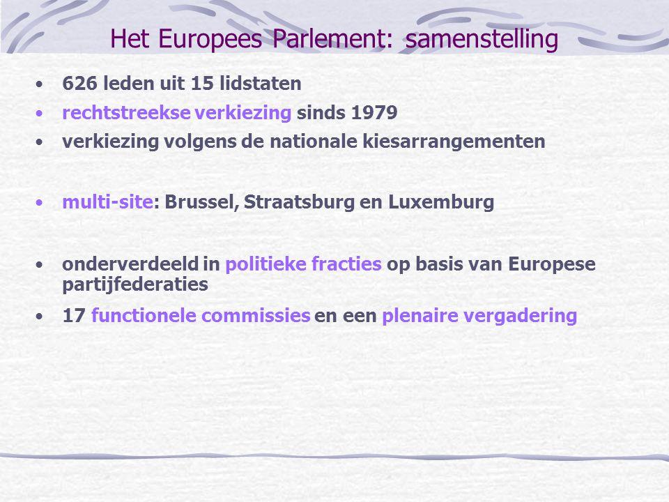Het Europees Parlement: samenstelling 626 leden uit 15 lidstaten rechtstreekse verkiezing sinds 1979 verkiezing volgens de nationale kiesarrangementen