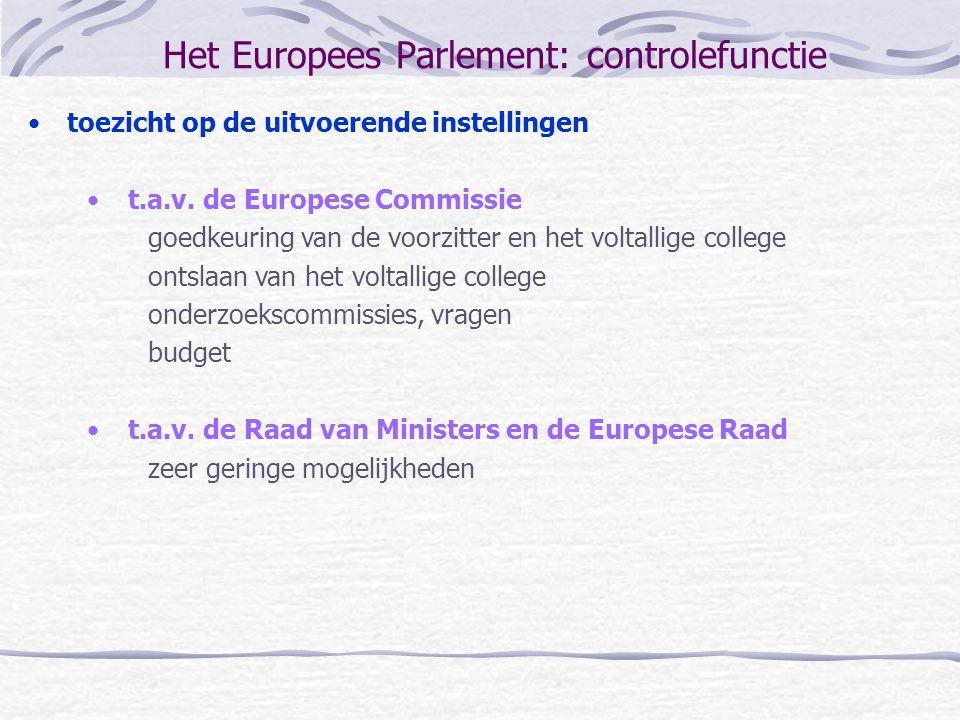 Het Europees Parlement: controlefunctie toezicht op de uitvoerende instellingen t.a.v. de Europese Commissie goedkeuring van de voorzitter en het volt
