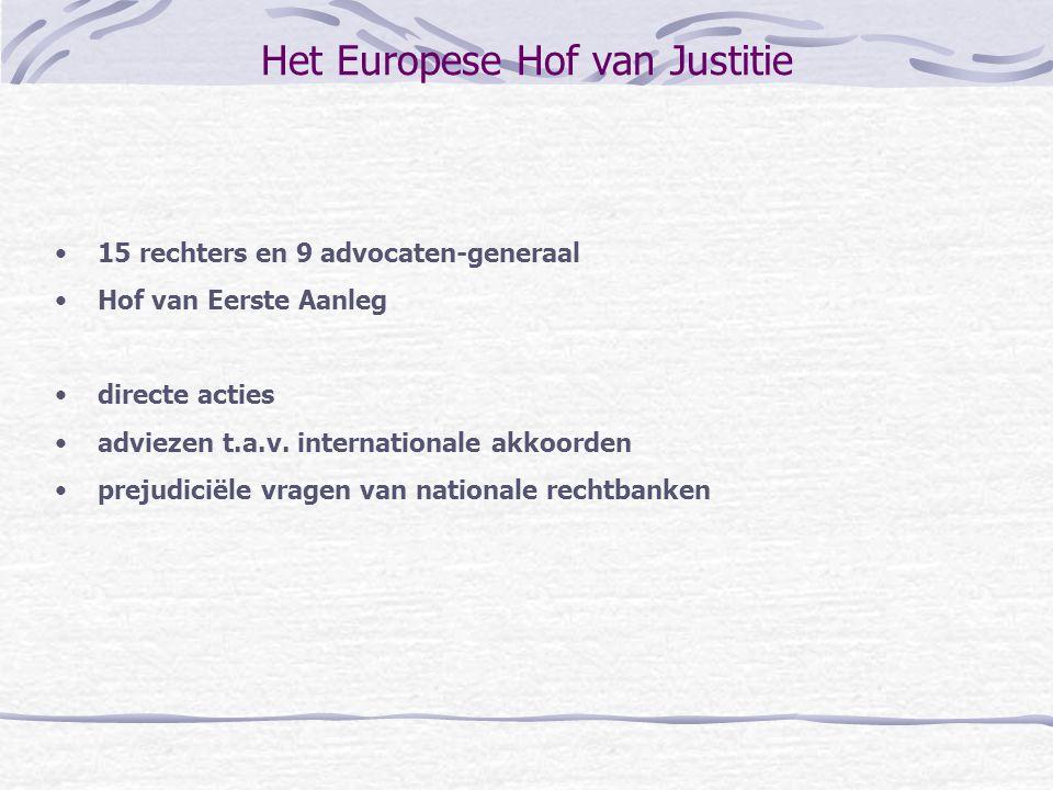 Het Europese Hof van Justitie 15 rechters en 9 advocaten-generaal Hof van Eerste Aanleg directe acties adviezen t.a.v. internationale akkoorden prejud